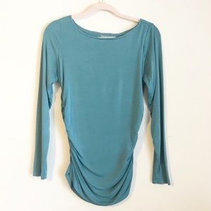 Soft Surroundings Ruched Top in Teal Blue #27011